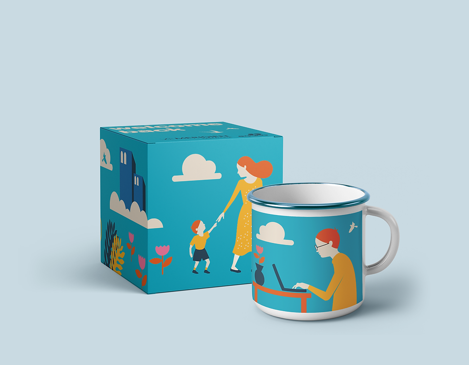 Packaging project made for Hotel Le Meridièn in collaboration with the NGO Educo. A cute illustrated box and a mug as a way to welcome workers back after several months of lockdown due to the COVID-19 pandemic.