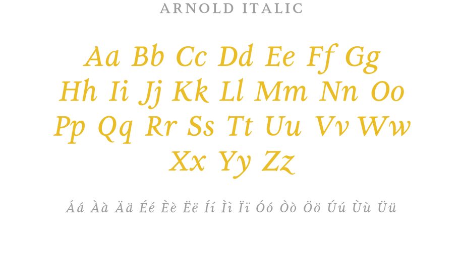 Art nouveau or Jugendstil font inspired by the romantic painter Arnold Bocklin. A typeface family designed for text, available in regular, italic and bold, that includes an ornamented display version