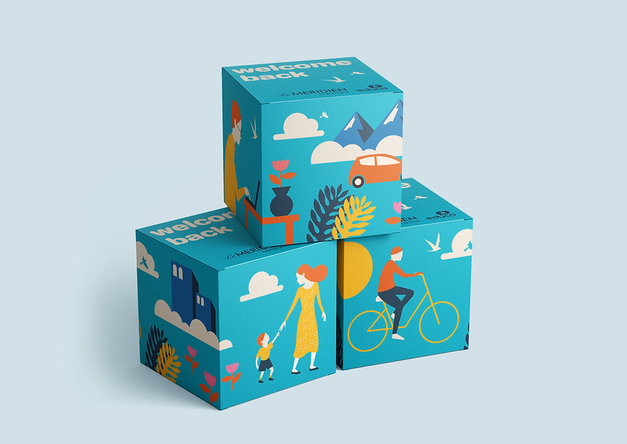 Packaging project made for Hotel Le Meridièn in collaboration with the NGO Educo. A cute illustrated box containing a mug as a way to welcome workers back after several months of lockdown due to the COVID-19 pandemic.
