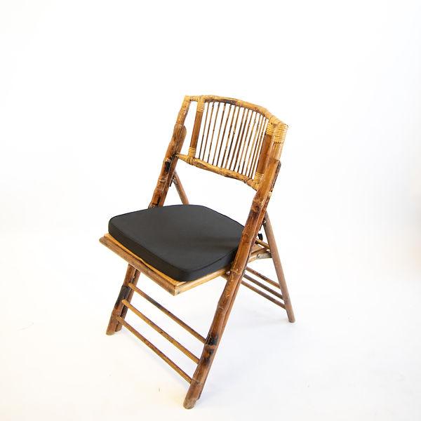 Bamboo Chair with Black Cushion