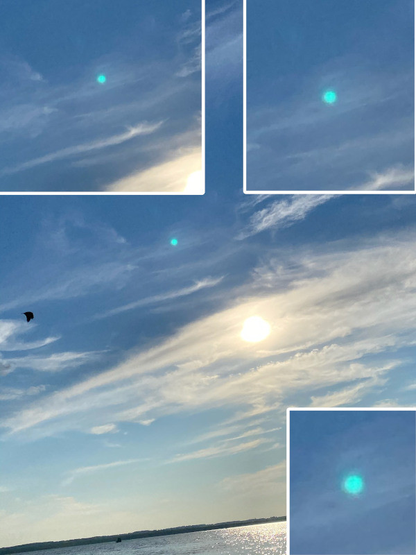 A blue Orb thats movement across the sky was captured in the layers of a picture