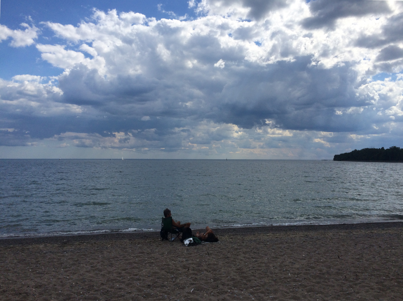 The clouds and water off Wards Island Beach
