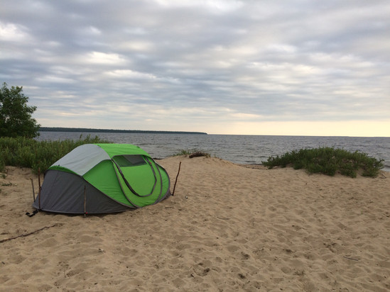 Camping on the Beach.