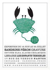 gravure crabe mousse vert Sandrie Péron