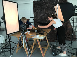 Food Styling Runza shoot, Laurie and Madison.