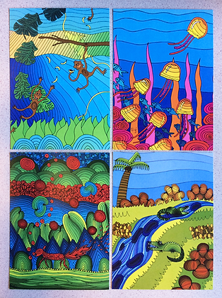 Set of 4 animals postcards