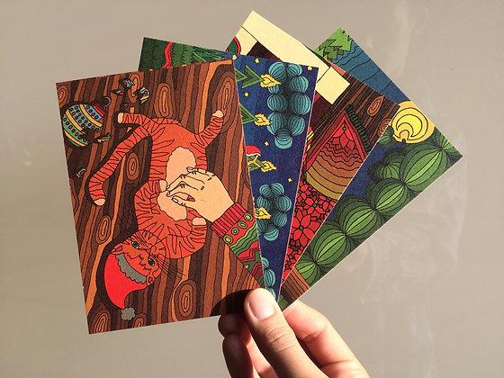 Set of 4 animal Christmas postcards