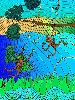 4x Monkey Postcard