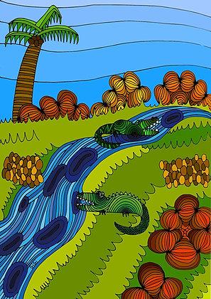 4x Crocodile postcard