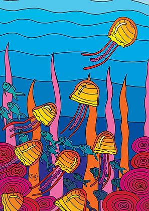 4x Jellyfish Postcard