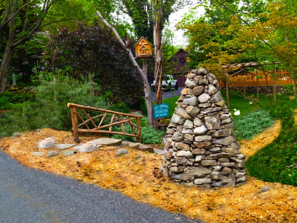 Stone Beehive •Rustic Railing