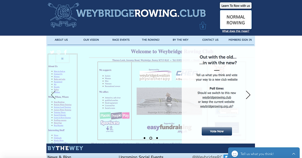 Screenshot of weybridgerowing.club homepage - click image to visit