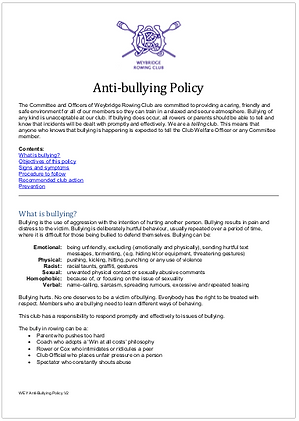 Image of the first page of WEY Anti-bullying Policy