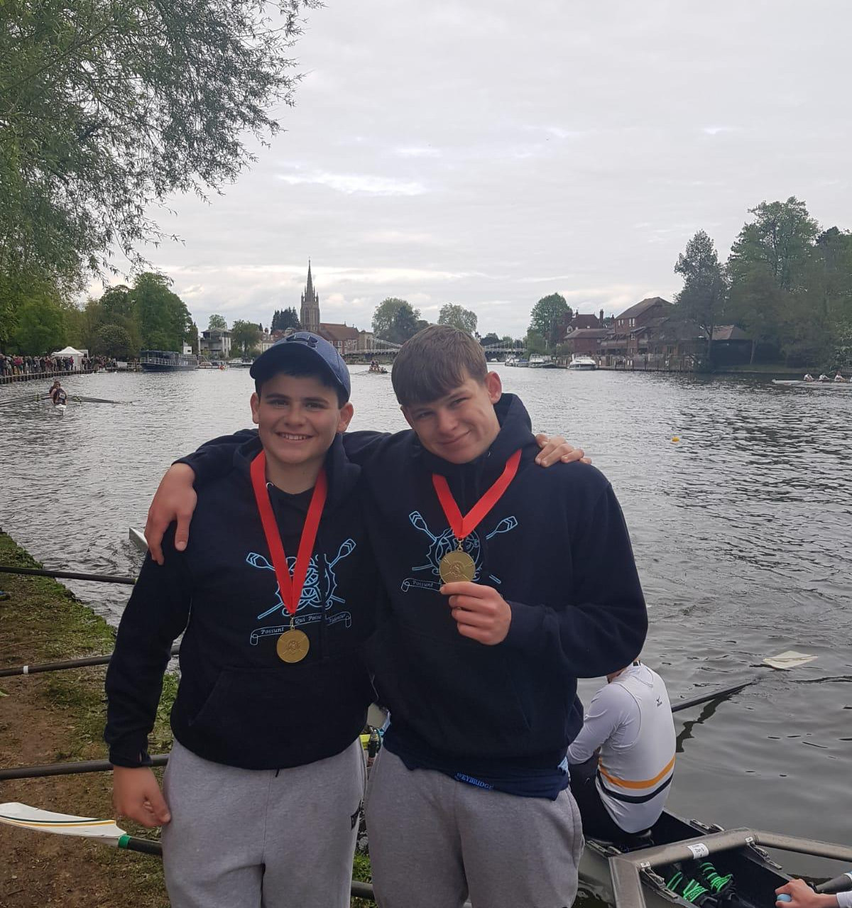 James and Cullen win the J14.2x (B) at Marlow Spring Regatta