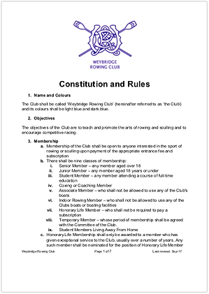 Image of the first page of WEY Constitution and Rules