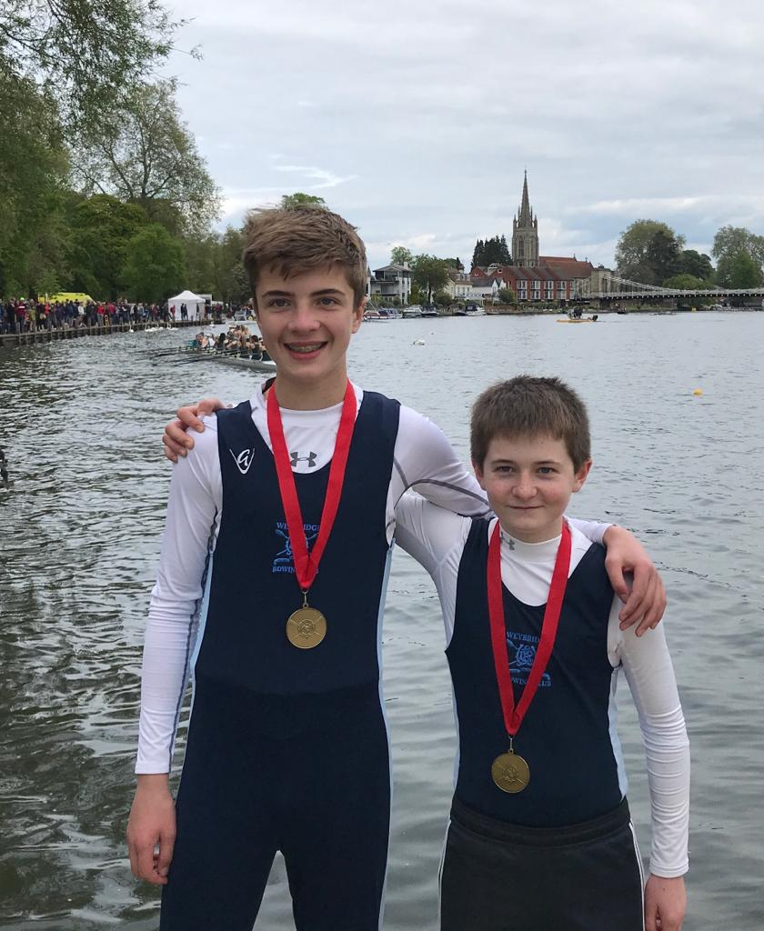 Henry and Piers win the J13.2x at Marlow Spring Regatta
