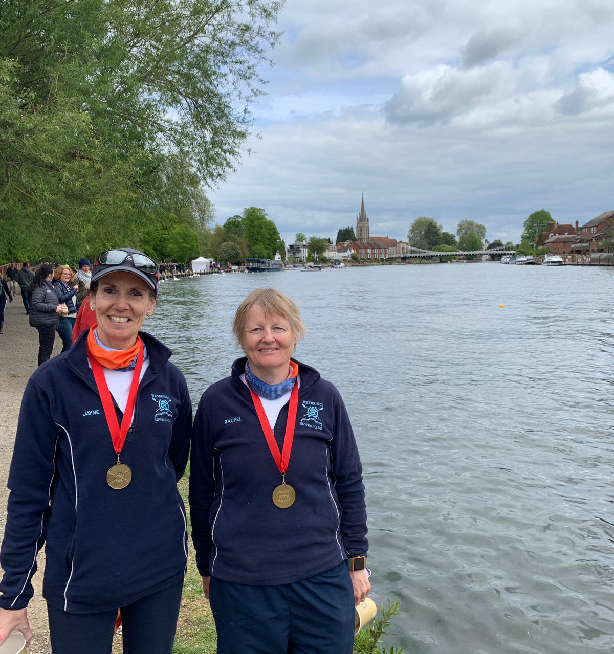 Rachel and Jayne win the W.MasE.2- at Marlow Spring Regatta