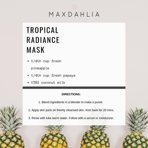 DIY face mask made of natural non toxic ingredients like fresh pineapple, papaya and coconut milk that was inspire by Hawaii.