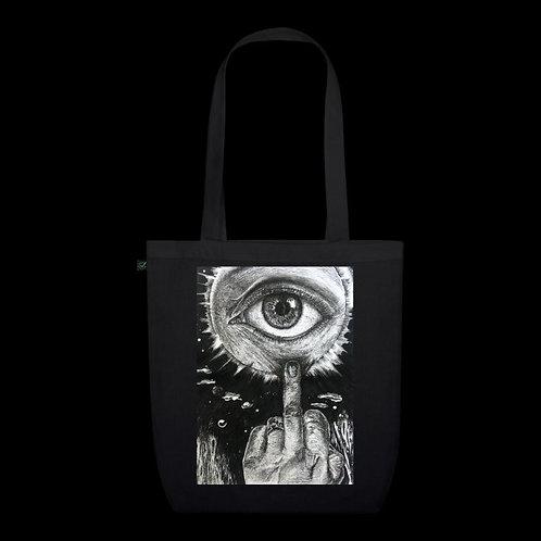 """""""I Don't Care"""" Black Organic & Earth Positive Tote Bag / Nargiz Art"""