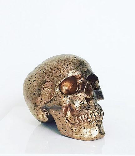 Gold & black splatter skull