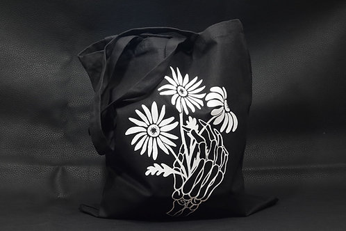 Reaching For Flowers skeleton tote bag / Deadly Daisies