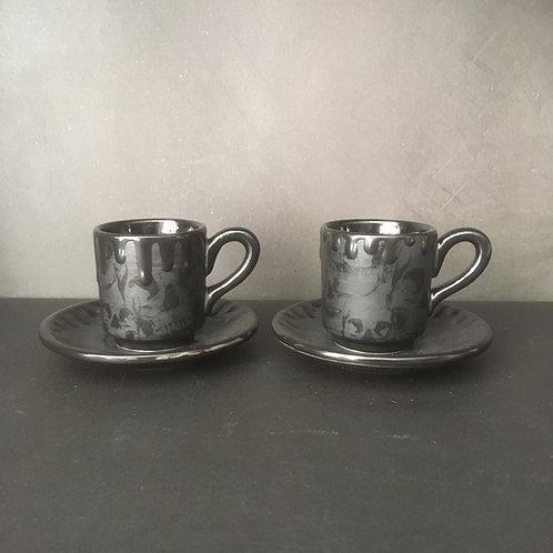 Matte Black Skull Espresso Cup & Saucer