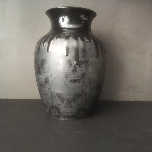 Matte Black Skull Vase