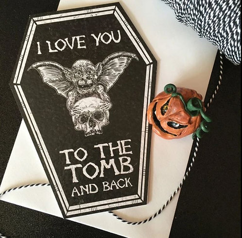 I Love You To The Tomb And Back bat & skull greeting card / The Crafty Burreato