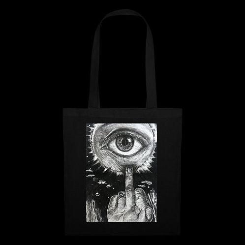 """""""I Don't Care"""" Black Tote Bag / Nargiz Art"""