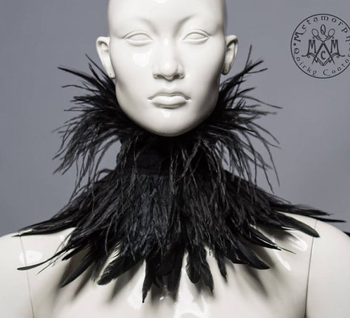Black Ostrich Feather Collar / Metamorph Quirky Couture