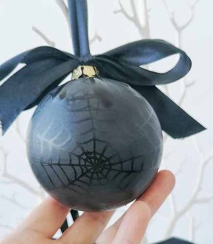 Small Black Skull or Spiderweb Christmas Bauble