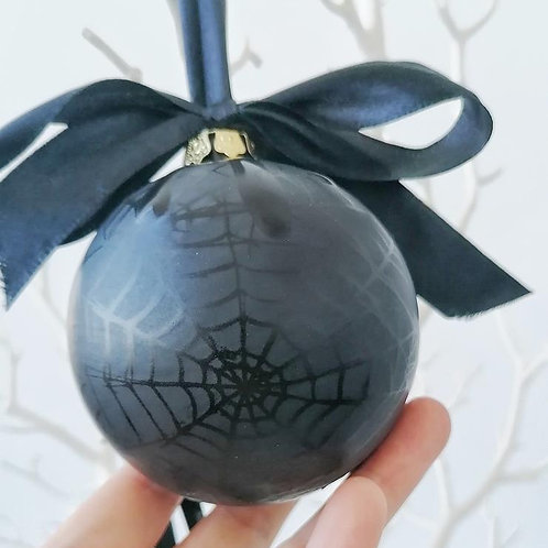 Big Black Skull or Spiderweb Christmas Bauble