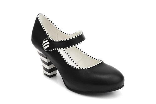 Black and Striped Elsa Noir Shoe / Lola Ramona