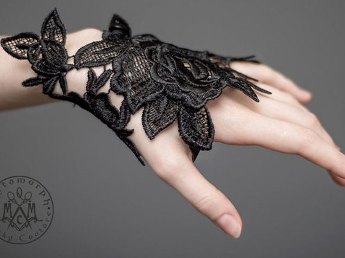 Black Embroidered Lace Fingerless Glove / Metamorph Quirky Couture