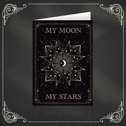 My Moon My Stars gothic & witchy greeting card / The Crafty Burreato