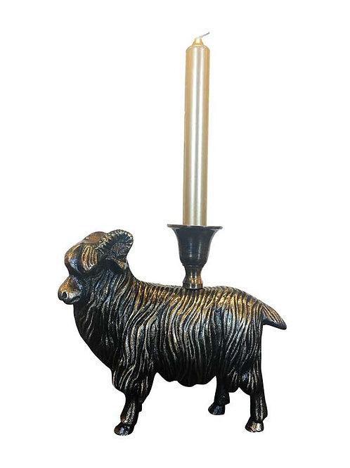 Brass Ram Candleholder