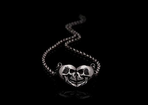 Skull/Heart necklace / Rock'n'Gold