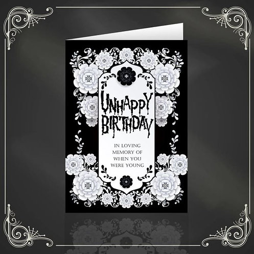 Unhappy Birthday dark & gothic greeting card / The Crafty Burreato