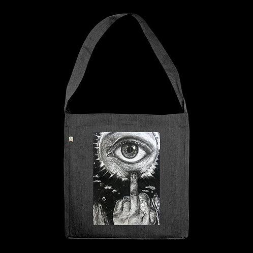 """I Don't Care"" Gray Full Recycled Tote Bag / Nargiz Art"