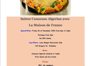 Soiree Couscous Algerian on Friday 6 November 2020 at Lake Monger from 6pm.