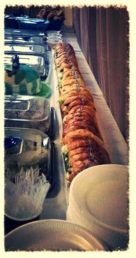 Six foot sandwich on buffet table