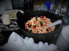 Pasta salad served in couldron