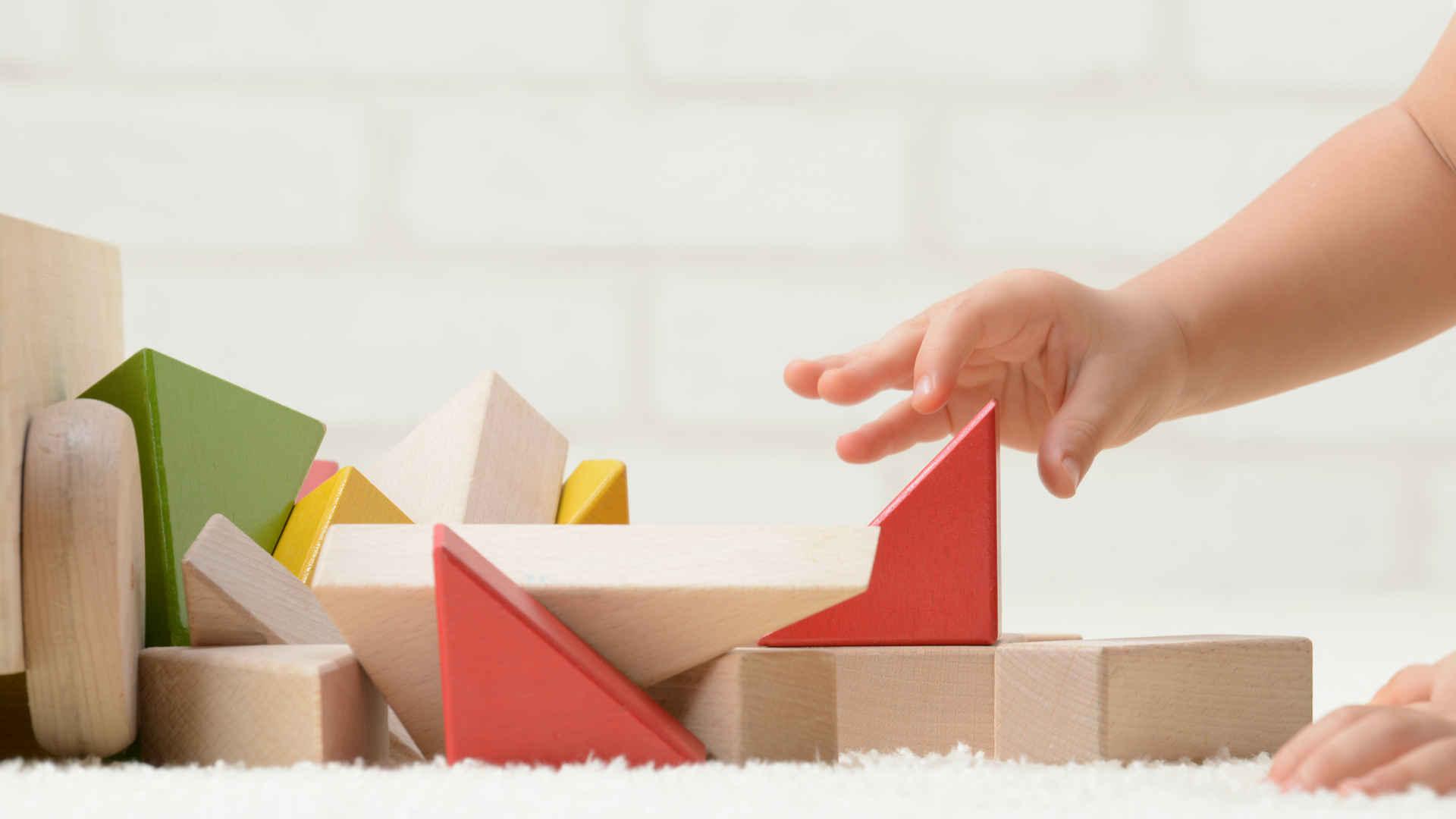 Bambino che gioca con Building Blocks