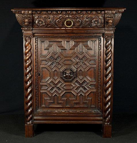 A Flemish Baroque 1-door cupboard, 17th century  (H10)