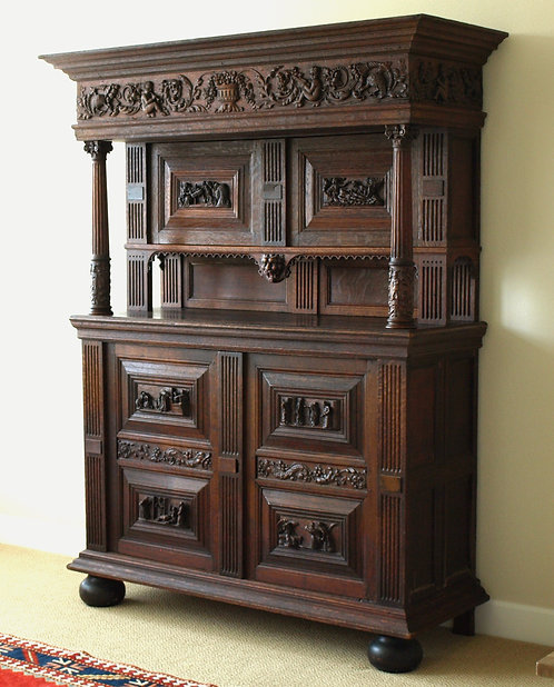 A renaissance oak court cupboard, Flemish, 17th century  (F43)