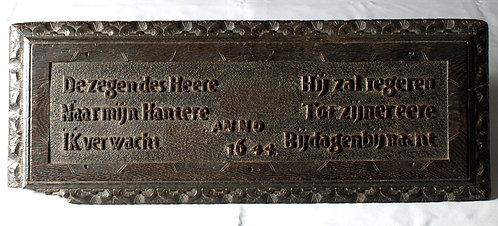 A Flemish oak choir plaque, mid-17th century (dated 1644)  (K09)