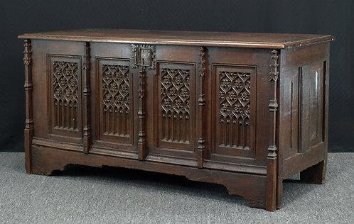 French gothic oak chest, 15th/16th century (U21)