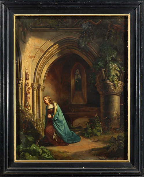 Jules Helbig, 1847, Women praying in a courtyard, Belgium  (G23)