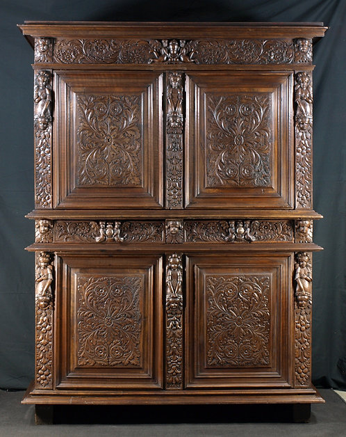 A large French walnut cupboard, 17th century  (M10)