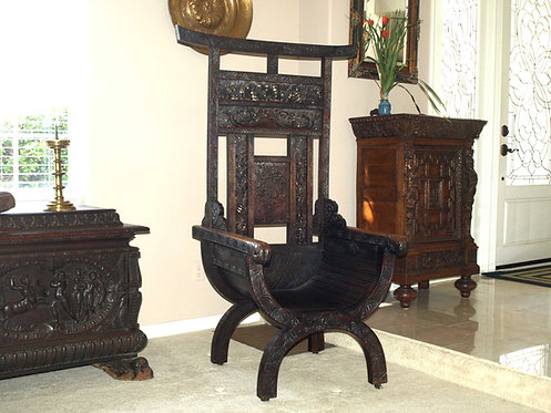Chinese carved throne chair, 19th century  (O32)